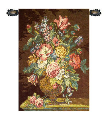 Vase with Flowers Brown Italian Wall Tapestry - Tapestry Zest