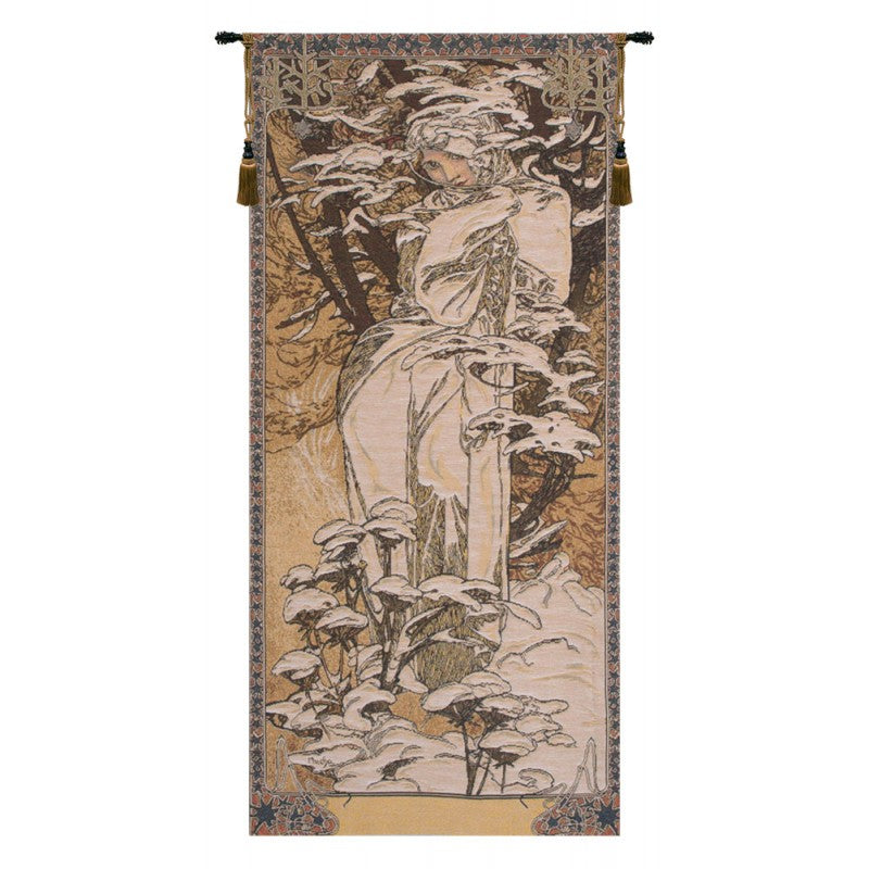 "Mucha Winter European Wall Tapestry, 42""x18"""