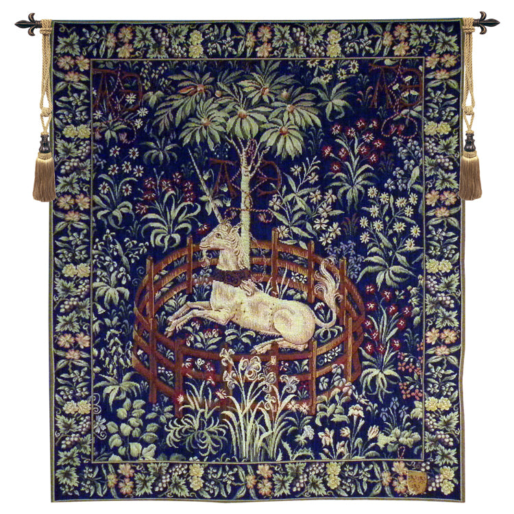 Captive Unicorn Midnight Blue French Tapestry - Tapestry Zest