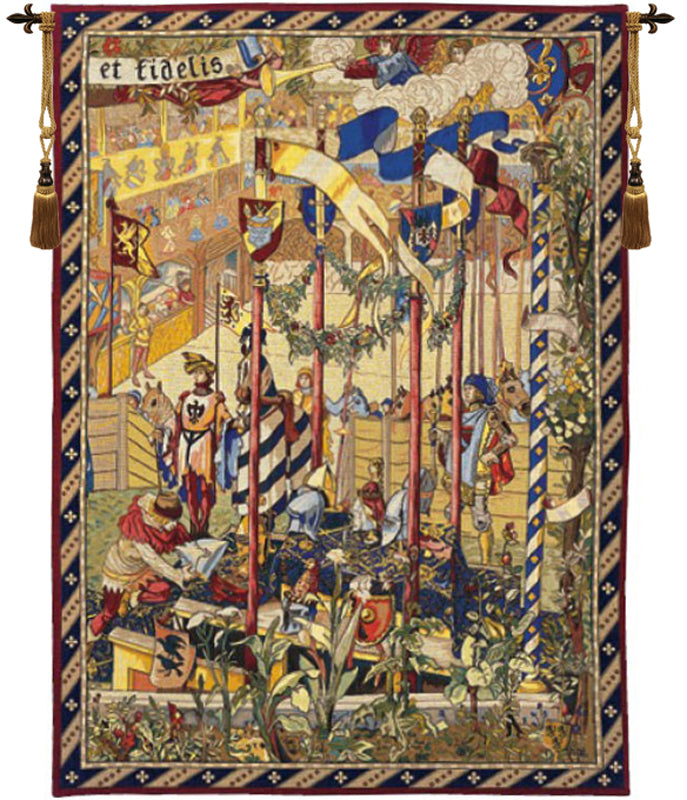 "La Joute French Wall Tapestry, 70""x50"""