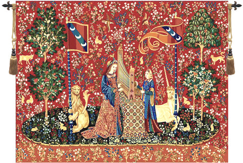 "Lady and the Unicorn ""Hearing"" Wall Tapestry - Tapestry Zest"