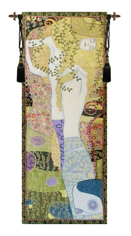 Water Snakes by Klimt Italian Wall Tapestry - Tapestry Zest