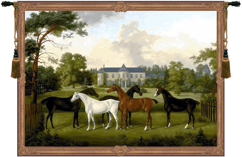 Five English Horses French Tapestry - Tapestry Zest