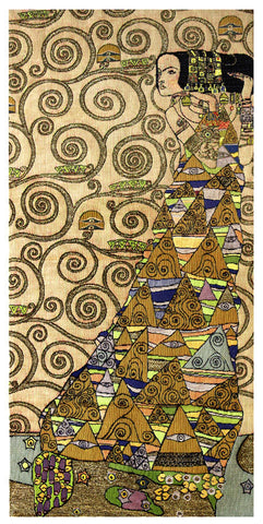 L'Attente Klimt a Droite Clair French Tapestry - Tapestry Zest