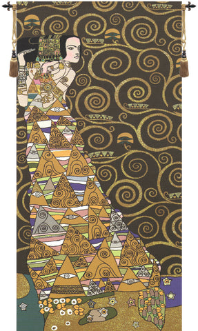 L'Attente Klimt a Gauche Fonce French Tapestry - Tapestry Zest
