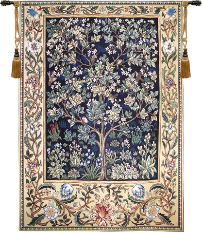Tree of Life Blue European Wall Tapestry - Tapestry Zest
