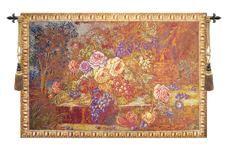 Bouquet with Grapes Red Italian Wall Tapestry - Tapestry Zest