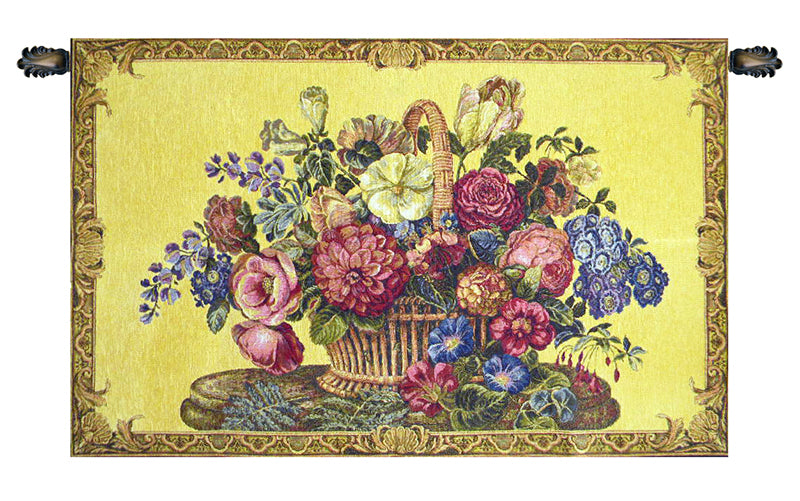 Flower Basket with Yellow Chenille Background Italian Wall Tapestry - Tapestry Zest