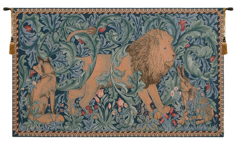 Lion in Jungle French Tapestry - Tapestry Zest