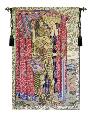 Knight and Tree of Life Wall Tapestry - Tapestry Zest