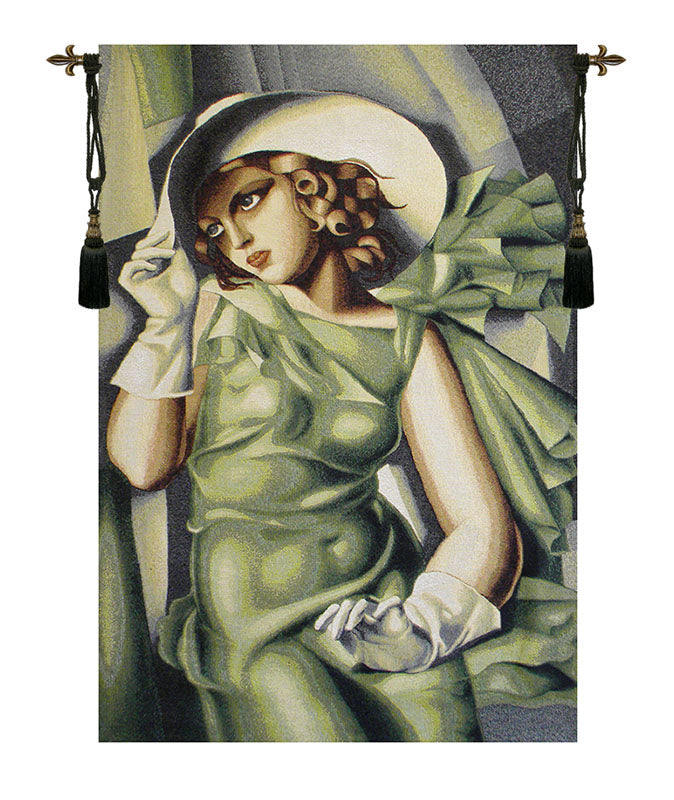 Girl In The Green Dress European Wall Tapestry - Tapestry Zest