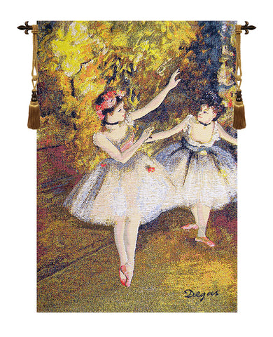 Two Dancers On Stage by Degas European Wall Tapestry - Tapestry Zest
