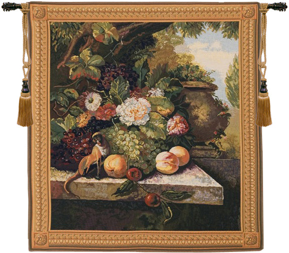 Monkey In Still Life European Wall Tapestry - Tapestry Zest
