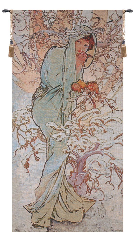 Winter Mucha European Wall Tapestry - Tapestry Zest