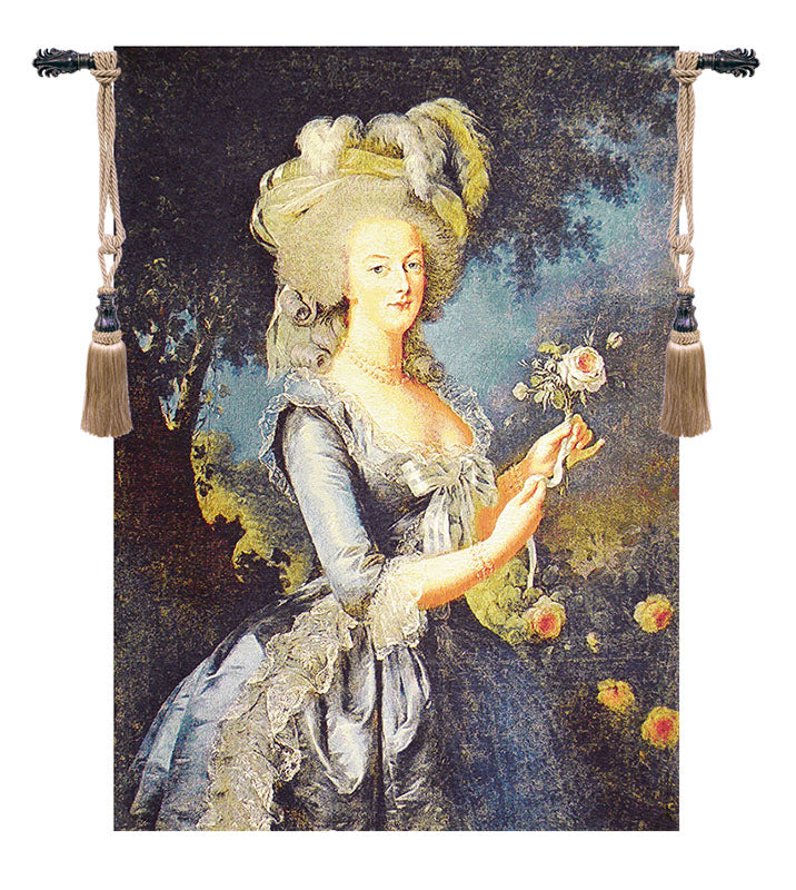 Marie Antoinette with Rose European Wall Tapestry - Tapestry Zest