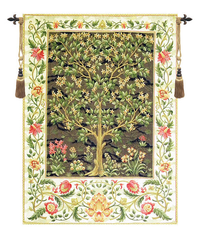 Tree of Life Beige European Wall Tapestry - Tapestry Zest