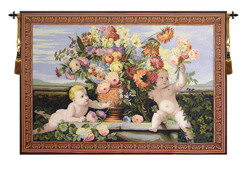 Angels and Flowers Italian Wall Tapestry - Tapestry Zest