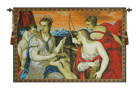 Venus Blindfolds Cupid Italian Wall Tapestry - Tapestry Zest