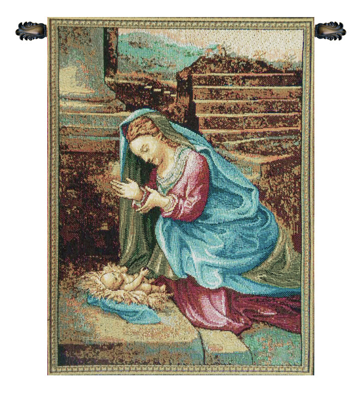 Madonna Adoring the Child Italian Wall Tapestry - Tapestry Zest