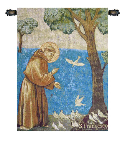 St. Francis Preaching to the Birds Italian Wall Tapestry - Tapestry Zest