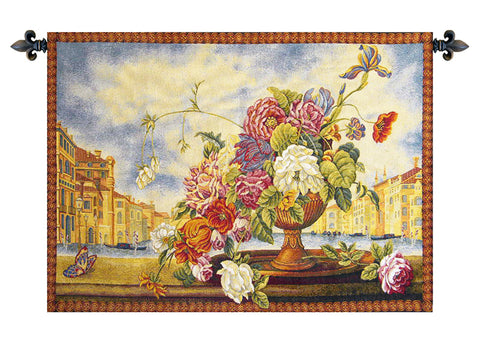 Venice Balcony with Flowers Italian Wall Tapestry - Tapestry Zest