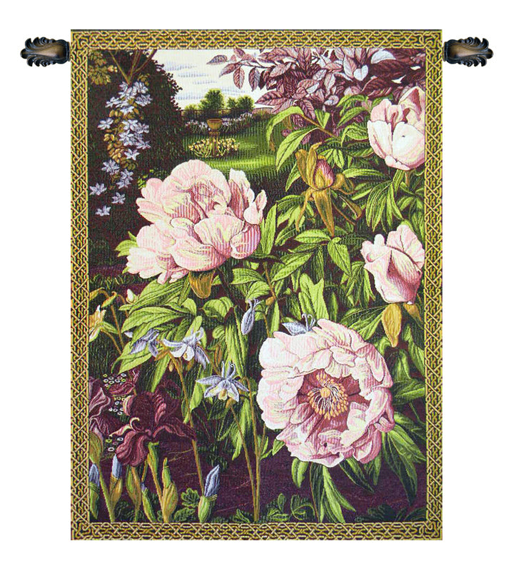 Pink Peonies Italian Wall Tapestry - Tapestry Zest