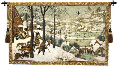 Hunting in the Snow Italian Wall Tapestry - Tapestry Zest