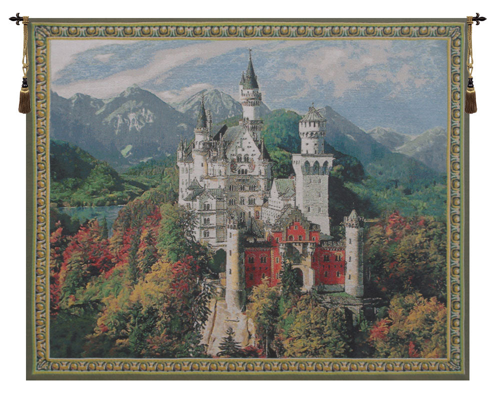 Neuschwanstein Castle Grey European Wall Tapestry - Tapestry Zest