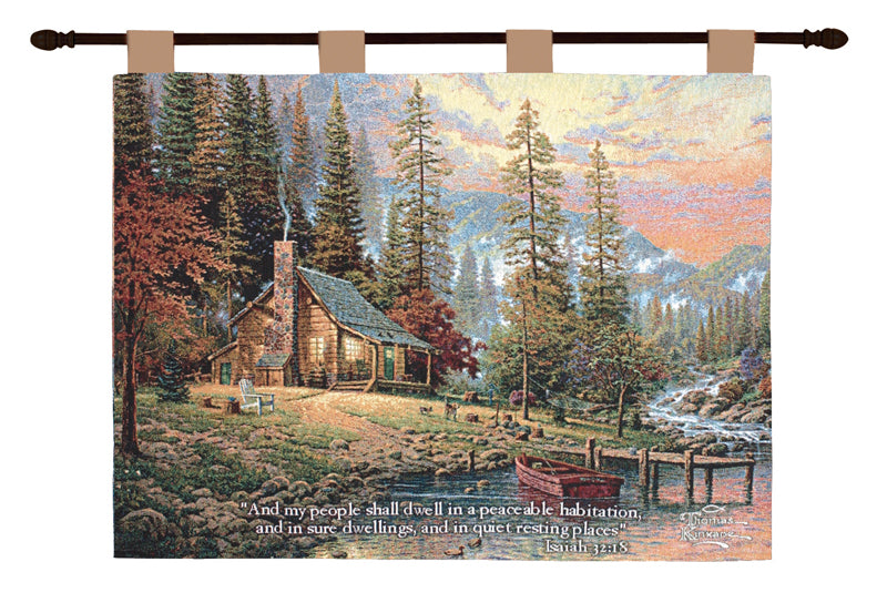 Peaceful Retreat w/Verse Kinkade Fine Art Tapestry - Tapestry Zest
