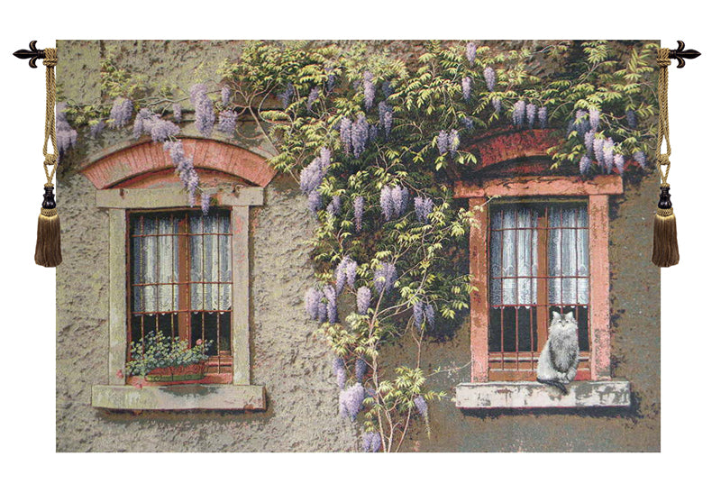 Windows with Wisteria Italian Wall Tapestry - Tapestry Zest