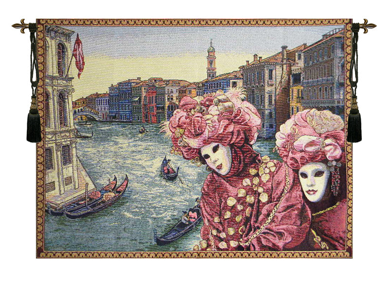 View with Masks Italian Wall Tapestry - Tapestry Zest
