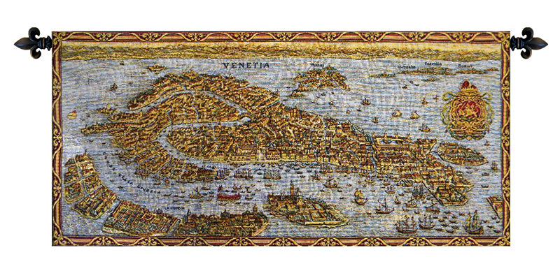 Ancient Map of Venice Horizontal Italian Wall Tapestry - Tapestry Zest