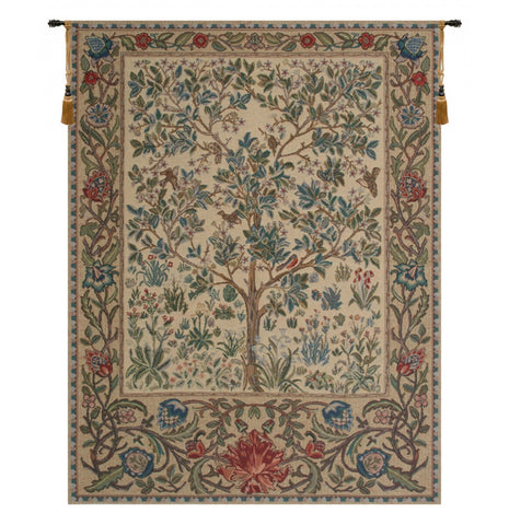 "The Tree of Life Beige Wall Tapestry, 25""x19"""