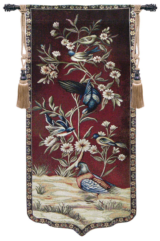 Wild Birds and Flowers Left Tapestry Wall Art - Tapestry Zest