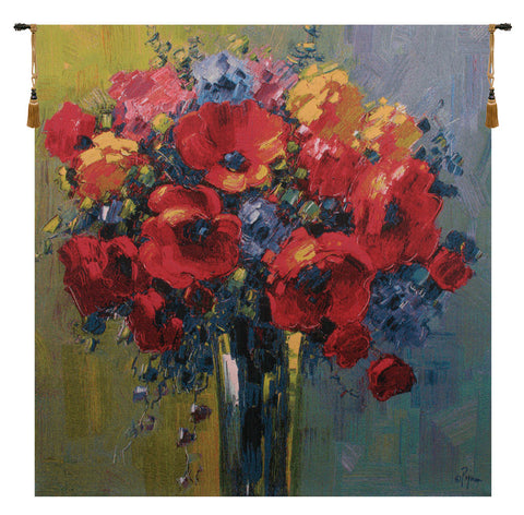 Poppy Bouquet by Pejman European Wall Tapestry - Tapestry Zest