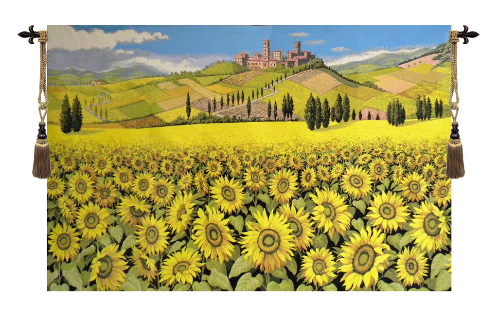 Tuscan Sunflower Landscape Italian Wall Tapestry - Tapestry Zest
