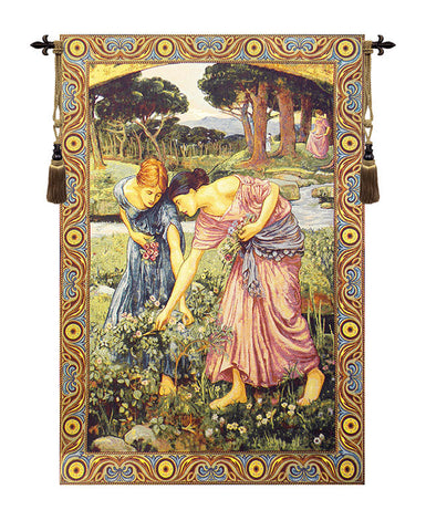 Gathering Rose Buds Italian Wall Tapestry - Tapestry Zest