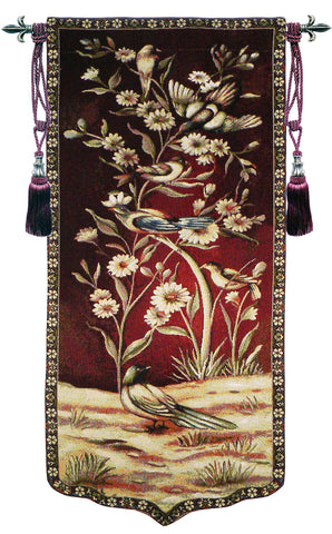 Wild Birds And Flowers Right Tapestry Wall Art