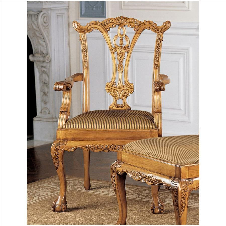 English Chippendale Arm Chair - Tapestry Zest