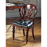Simsbury Manor Leather Side Chair - Tapestry Zest