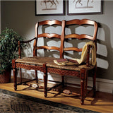 Provincial French Ladderback Settee - Tapestry Zest