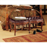 Berkeley Square Leather Bench - Tapestry Zest