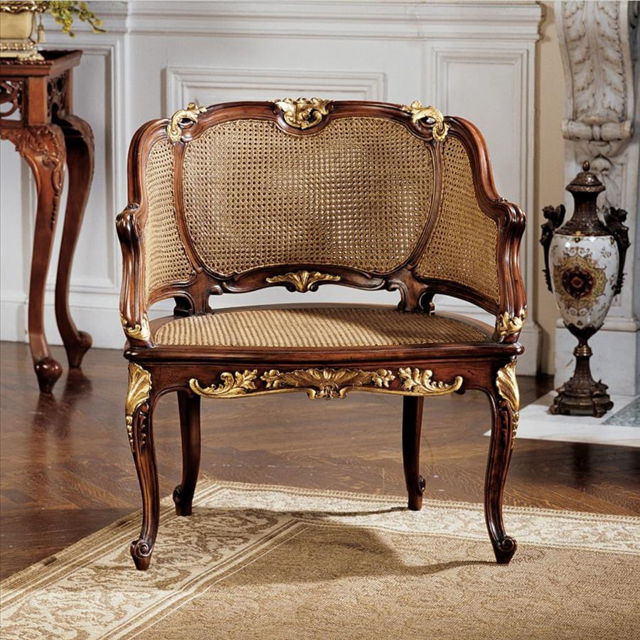Louis Xv Rattan Chair - Tapestry Zest