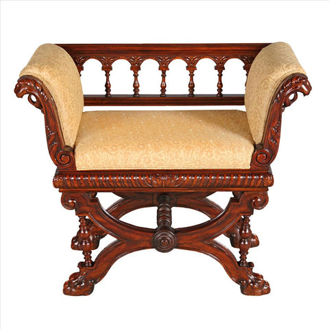 Double Griffon Colonnade Bench - Tapestry Zest