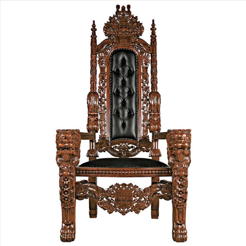 Lord Raffles Throne W/Faux Black Leather - Tapestry Zest