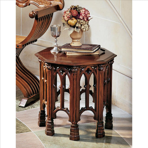 Gothic Revival Octagonal Side Table - Tapestry Zest