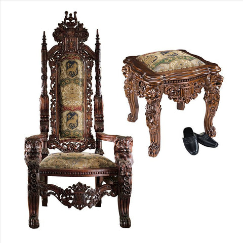 Lord Raffles Throne & Ottoman Set - Tapestry Zest