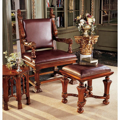 Lord Cumberlands Throne & Footstool Set - Tapestry Zest
