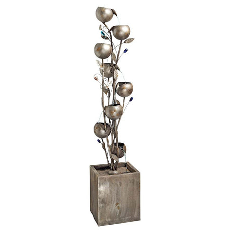 Abstract Floral Metal Tower Fountain - Tapestry Zest