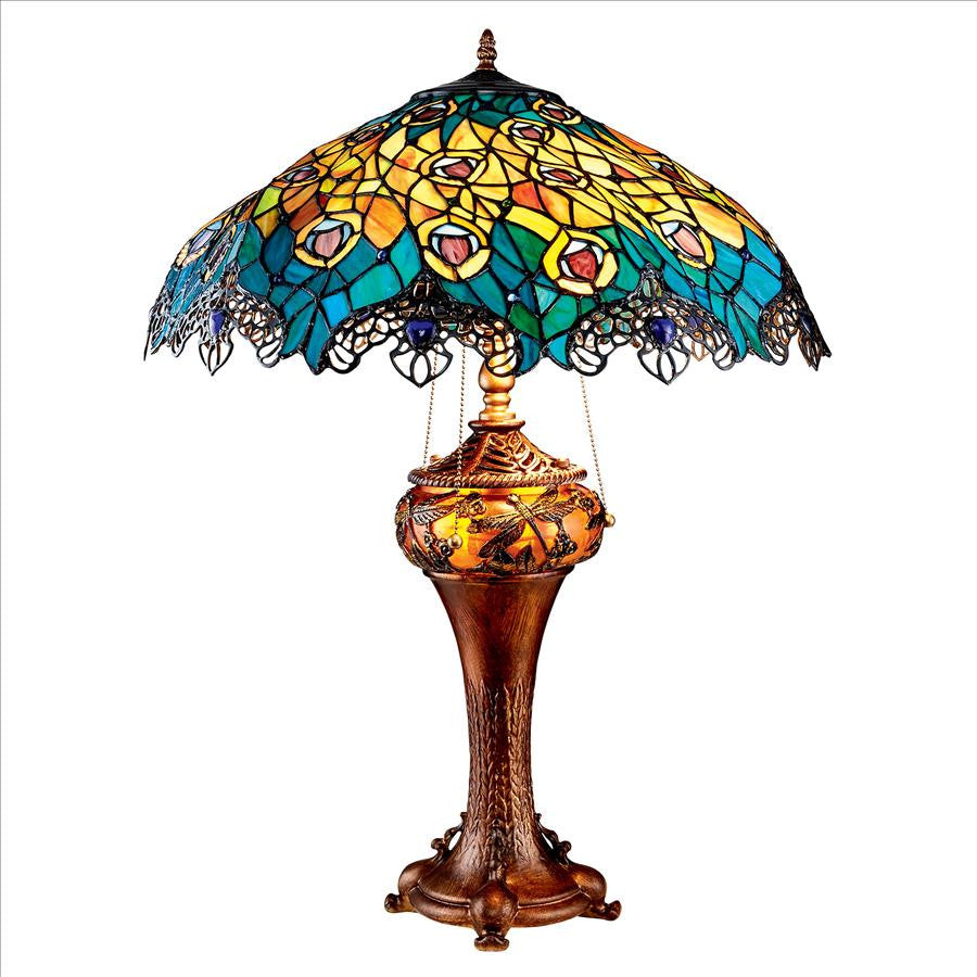 Art Nouveau Peacock Table Lamp - Tapestry Zest
